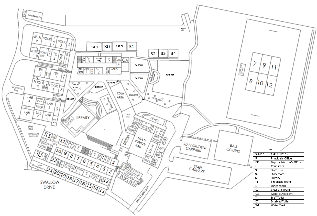Map of the school grounds